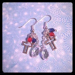 Jewelry - ❤️💙Patriotic Beaded Cross Earrings❤️💙